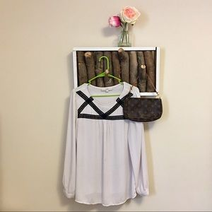 Lace and polka dot blouse